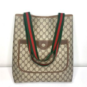 Authentic Gucci coated monogram canvas tote